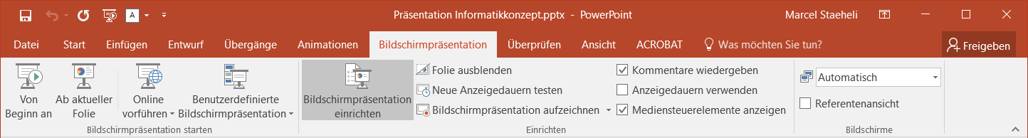 Screenshot: Powerpoint Hauptmenü